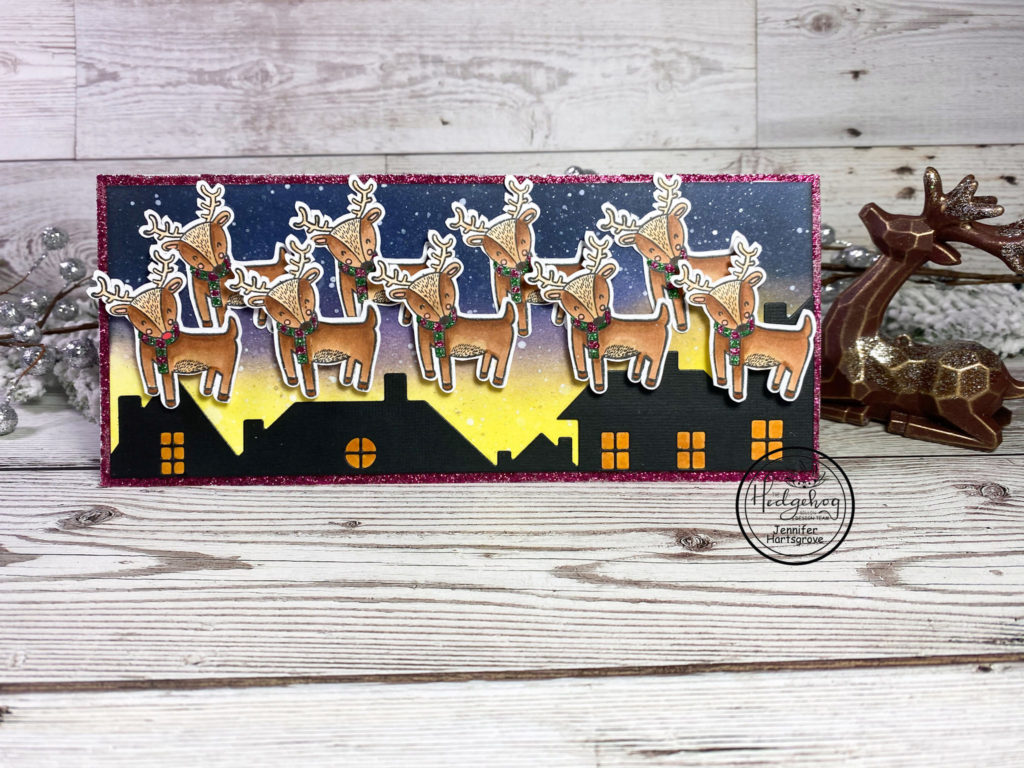 Hi Krafty Friends!  Jen from Katahdin Krafts on the blog today with this cute reindeer fly over slimline card from the December Subscription Box!